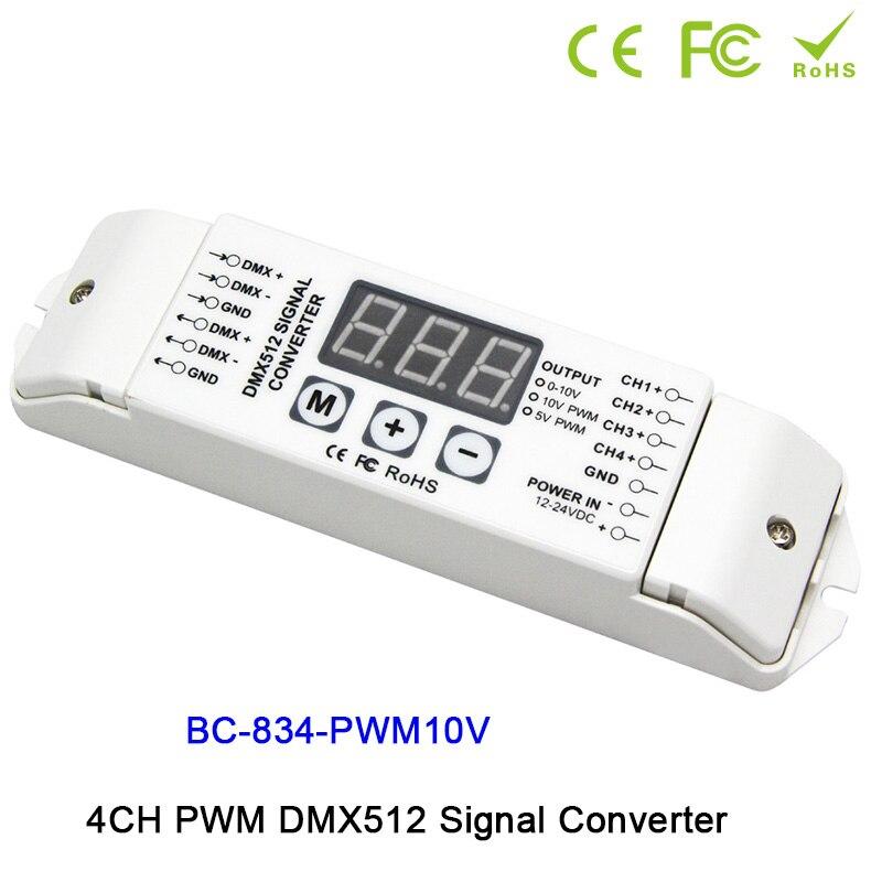 BC-834 4CH DMX512 led pilote contrôleur PWM 5 V/PWM 10 V signal PWM DMX512 Signal convertisseur 3-numérique-affichage montre DC12V-DC24V