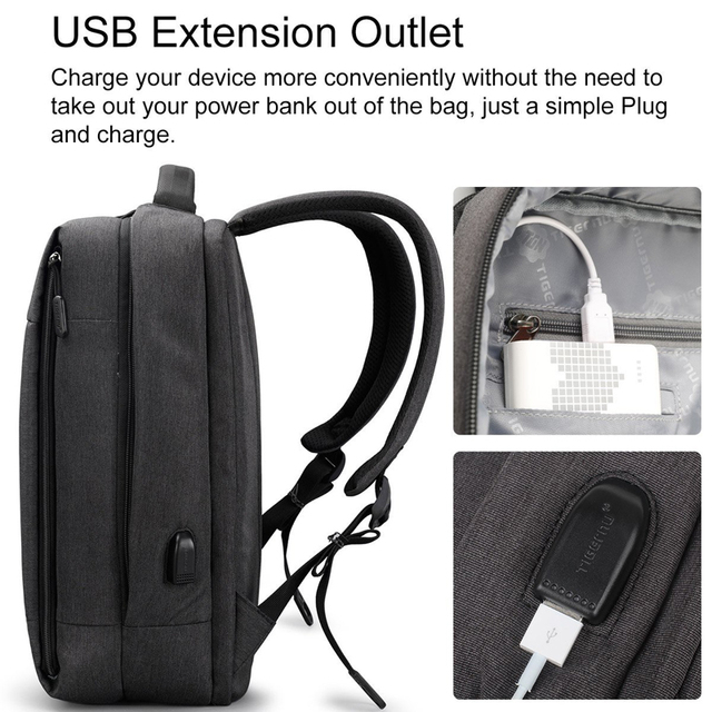 Tigernu Brand Slim Backpack USB charging Men 14 15.6 inch Laptop Backpack Women Splashproof Simple School Backpack Bag for Teens 3