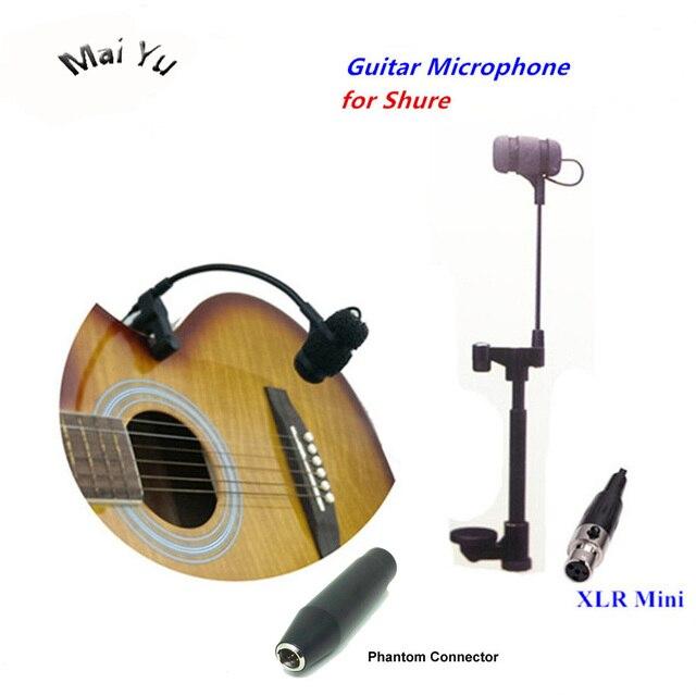 Micrófono para guitarra profesional, instrumento de música, condensador, Lapela, transmisor inalámbrico Shure XLR Mini, 4 pines, Phantom