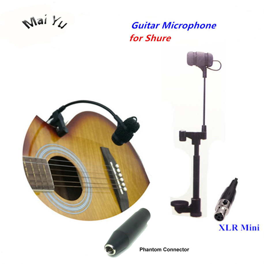 Professional Music Instruments Guitar Microphone Condenser Lapela Microfone for Shure Wireless Transmitter XLR Mini 4Pin Phantom professional microfone lapela mini xlr 3 pin ta3f tie clip on lavalier microphone lapel mic for pc wireless bodypack transmitter