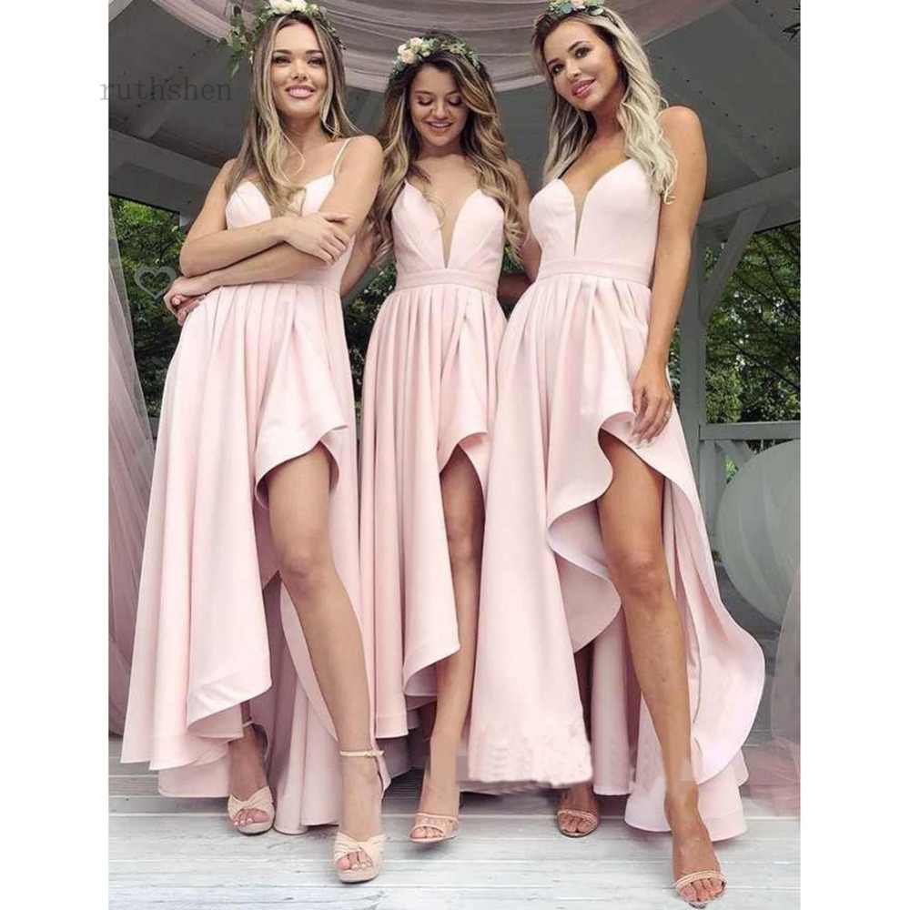 Cheap Pink Ruched Long Prom Dresses Sexy Deep V Neck Sleeveless Satin Formal Honor Of Maid Dresses Asymmetrical Evening Dress