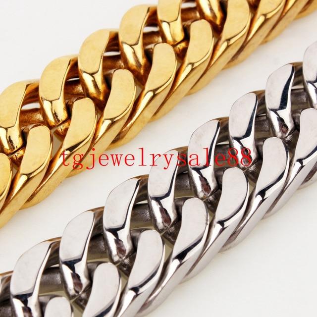 Modeschmuck armband silber  Some Strong Männer Cuban Panzerkette Halskette/Armband Edelstahl ...