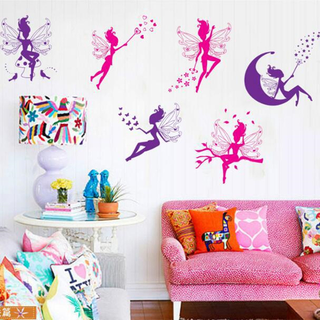 Cartoon Pink Magic Elf Girl DIY Decorative Wall Stickers For Kids Room  Villain Magic Wand Bedroom