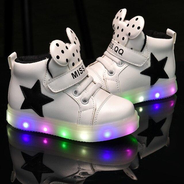 2017 Новый Высокое Качество Eur Размер 21-24 Light Up Shoes Дети светящиеся Кроссовки для Мальчиков и девочек Зажженными световой кроссовки baby shoes