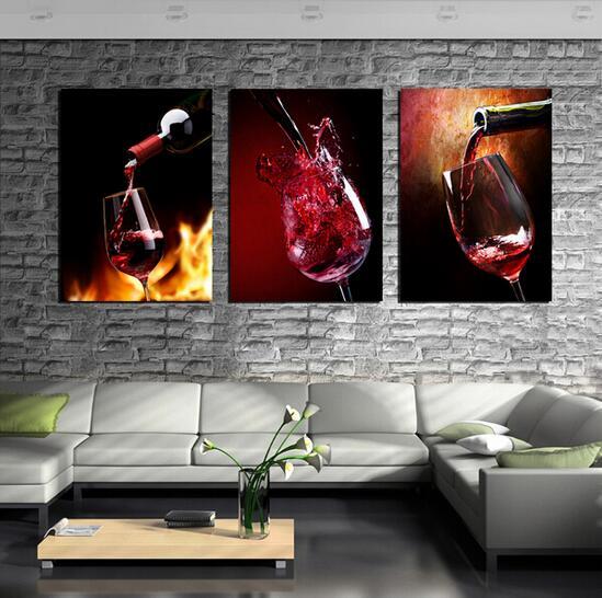 3 paneles vino tinto Copa botella pintura al óleo set bar para ...