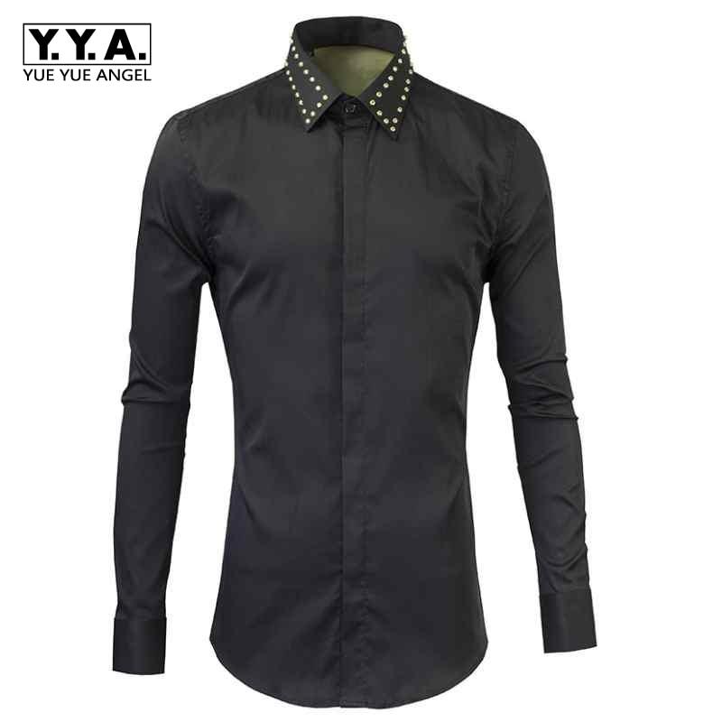 Rivets en métal noir or et argent chemise noire hommes chemise 2019 nouvelle mode mâle col rabattu chemises décontractées à manches longues