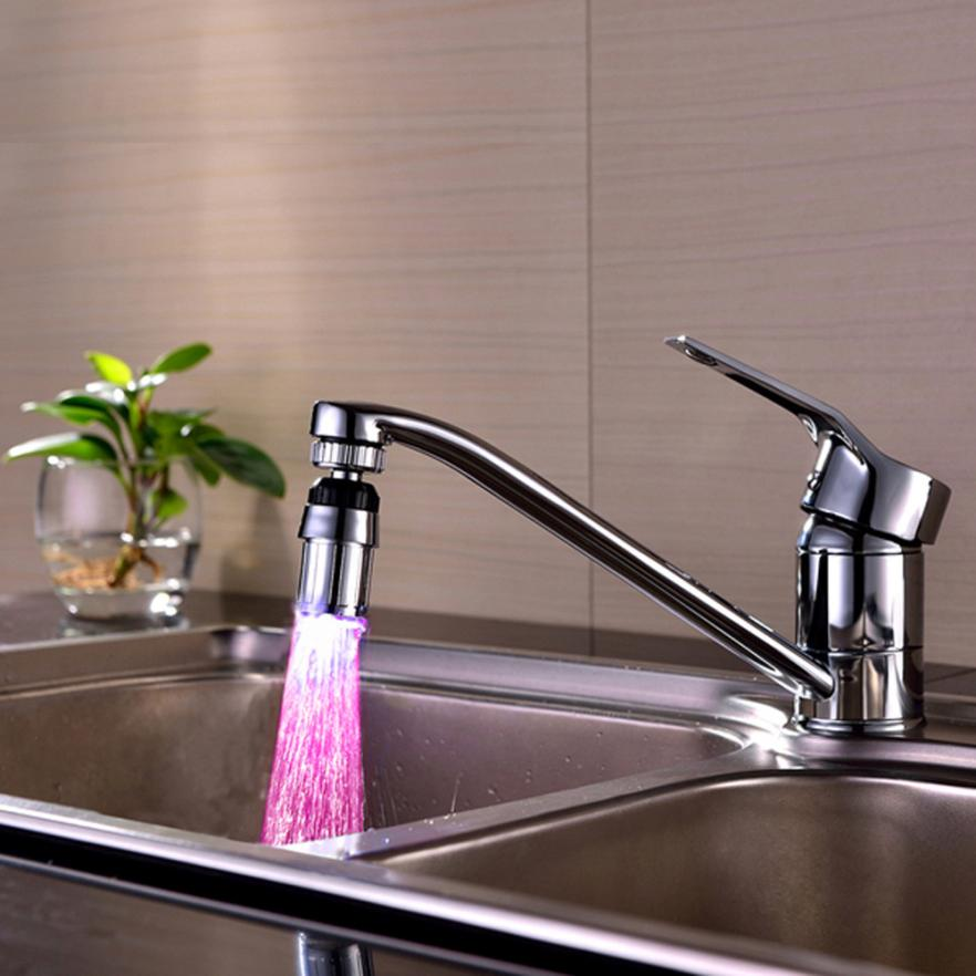 TENSKE 2017 Kitchen Sink 7Color Change Water Glow Water Stream Shower LED Faucet Taps Light levert dropship 2Jun27