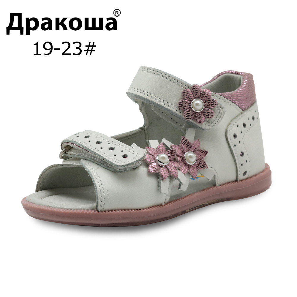 Apakowa Summer Girls Sandals Shoes Fashion Flowers Kids Flat Leather Princess Shoes Children's Shoes Arch Support EU Size 19-23