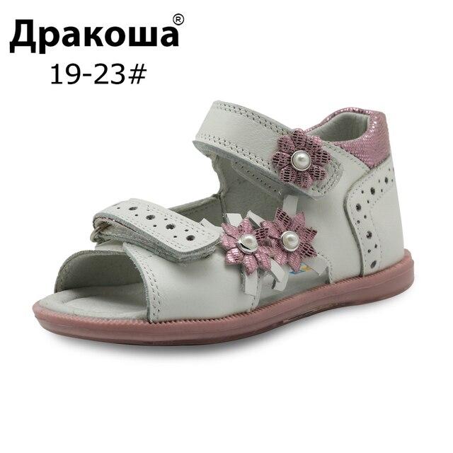 Apakowa/летние сандалии для девочек; Модная детская кожаная обувь принцессы на плоской подошве с цветочным принтом; Детская обувь; Поддержка арки; Европейские размеры 19 23