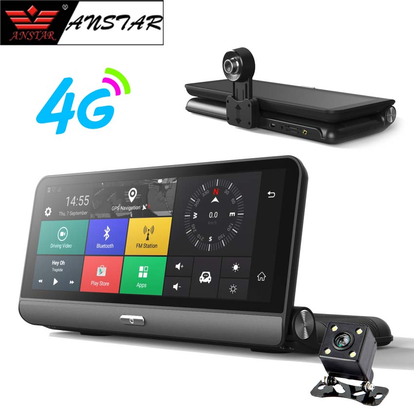 ANSTAR 4G Car DVR 8'' Dash Cam 3G WiFi Bluetooth GPS Navigator 1080P Car Video Recorder Android Rearview Car Camera Mirror DVR цена 2017