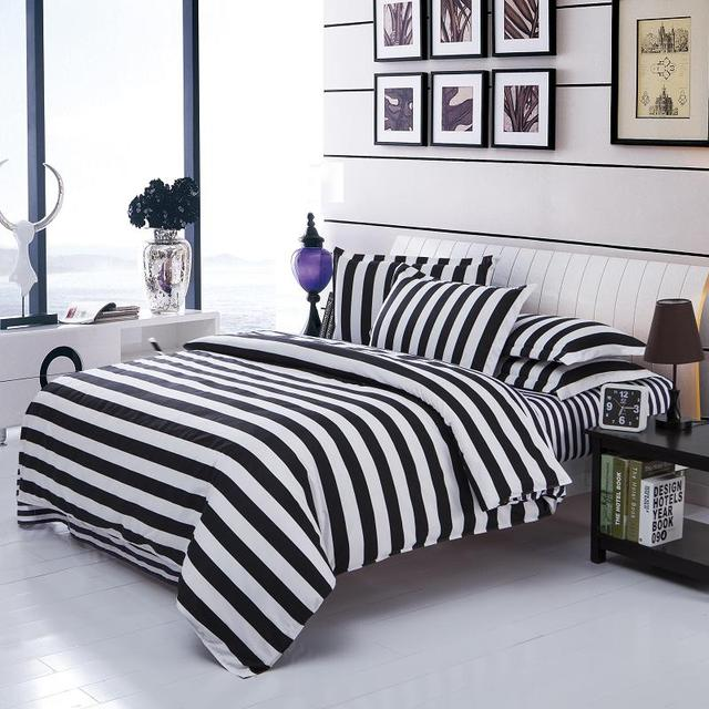 Black White Stripe Grid Bedding Sets Twin Full Queen Size Bedclothes Single Double Bed