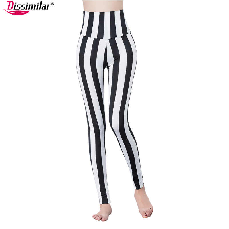 cb7d471701 free shipping high waist black white striped leggings stretchy houndstooth  leggings windmill pants for lady XS/S/M/L/XL