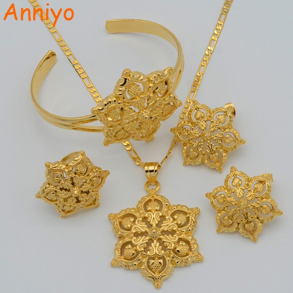 Anniyo Blumen Set Schmuck Frauen Gold Farbe Anhänger Halskette/ohrringe/ring/armreif African/arabischen/Äthiopischen Schmuck #047106 Produkte HeißEr Verkauf Schmuck & Zubehör