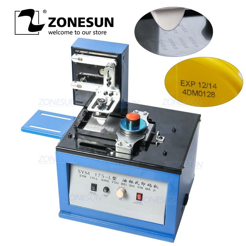 ZONESUN Automatic Pad Printer Electric InkJet Date Pad Printing Machine For Bottle Caps Print LOGO Metal Glass Coding Machine