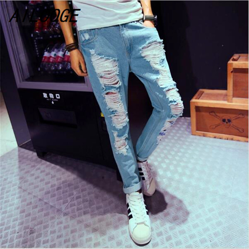 AILOOGE New Mens Jeans Brand Destroyed Hole Jeans Straight Mens Robin Jeans Slim Frayed Denim True Harem Jeans For Men ...