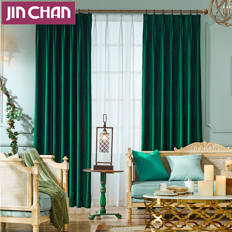 Scandinavian Solid Color Velvet Blackout Window Curtains