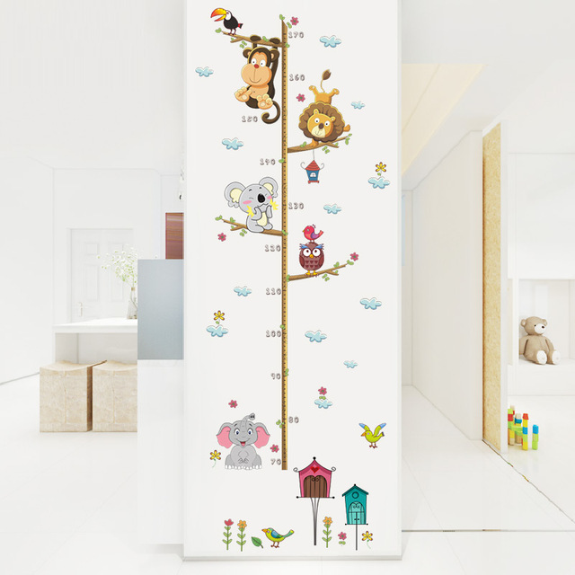 Forest Animals Lion Monkey Owl Bird House Tree Height Measure Wall Sticker  For Kids Rooms Poster c729d0db067a