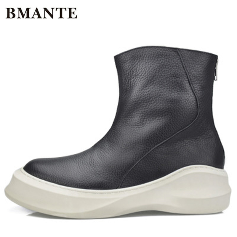 New Men Genuine Leather Shoes Luxury Trainers Winter Male Adult Ankle Flower Boots Casual Zip Low Spring Black Sneaker
