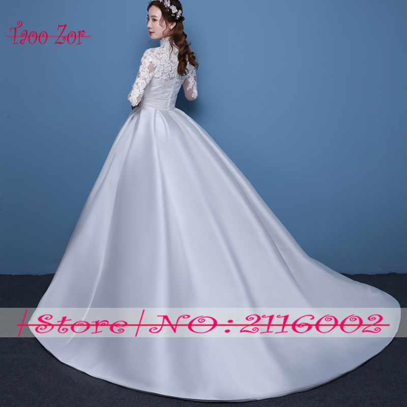 Taoo ZorVintage Satin A Line Wedding Dresses 2017 Turkey Chi Embroidery Lace Long Sleeve High Neck Robe De Mariage Plus Size-in Wedding Dresses from ...
