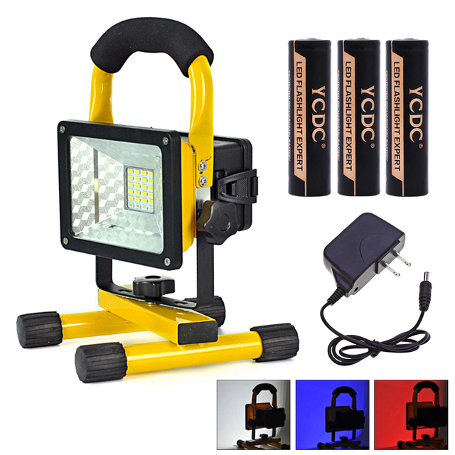 Waterproof Portable Rechargeable 30W 24 LEDS Spotlight LED Flood Light Stadium Camping Car Repair Lamp + Charger+3*18650 Battery