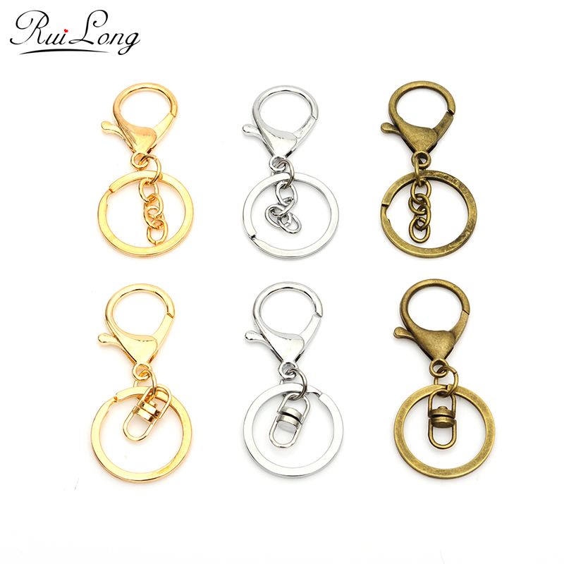 10pcs/lot rhodium gold color lobster clasp key hook chain jewelry making for keychain jewelry ...