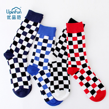 Fashion Harajuku Trends Hip Hop Cotton Socks Gifts for Men Korean Style Geometric Checkerboard Unisex Casual 4 Colors