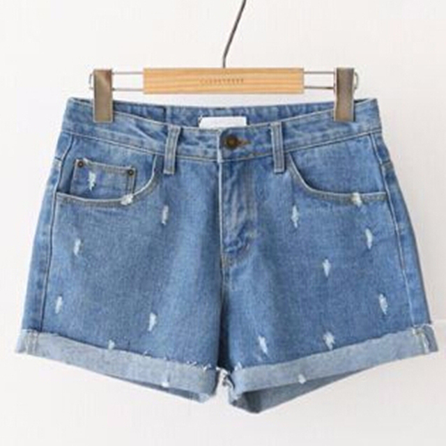 Summer Style Large Size 2015 Fashion Women Middle Waist Jeans Personality Frayed Denim Short Slim Casual Jeans Shorts for Women