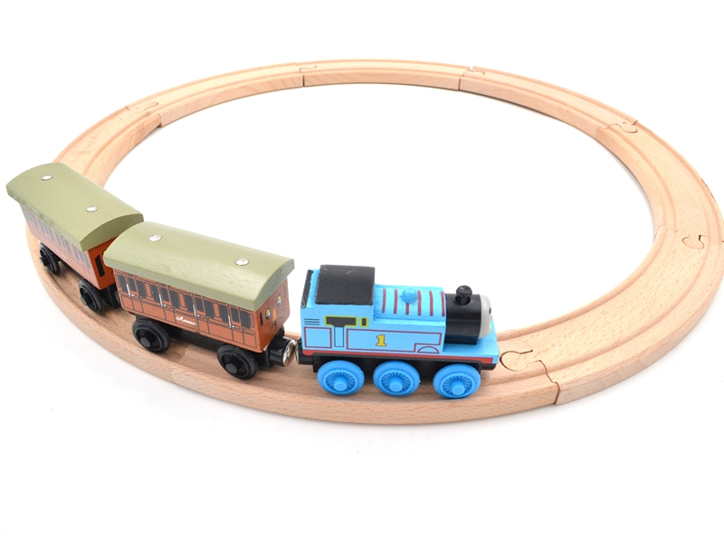 Funny Wood Thomas Train Annie and Clarabel Circle Track Railway Vehicle Playset Accessories Toys 1 SET =Track+Locomotive+Tend