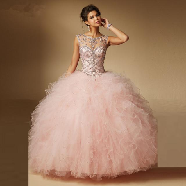 Hot Pink Coral Verde da Hortelã Vestidos Quinceanera 2017 vestido de Baile Ruffles com tulle frisada sweet 16 vestidos vestidos de 15 años q20