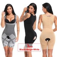 3PCS Women Slimming Full Body Shaper Post Natal Postpartum Butt Lifter Panties Control Shapewear Corset Briefs underwear