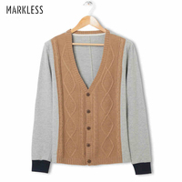 Markless Wool Knitted Men Sweater V Neck Full Sleeve Knitting Cardigan Men Thin Wool European and American Style Sweaters