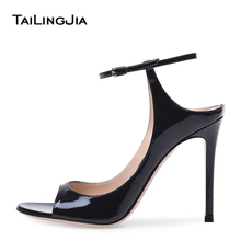 Patent Leather Shiny Black Women Slingbacks Latest Ladies Heeled Summer Shoes Stiletto Heels Sexy High Heel Open Toe Pumps