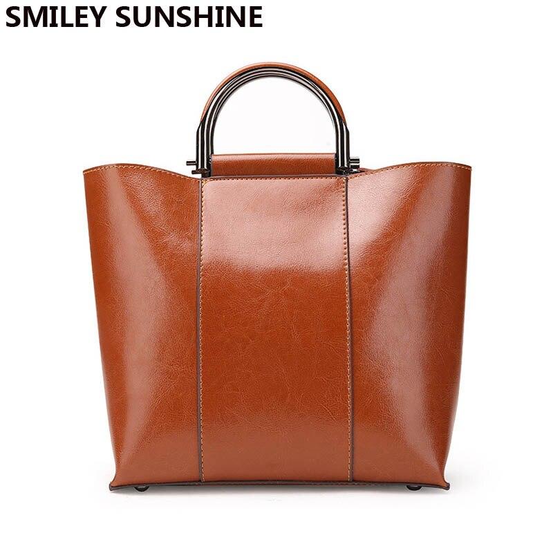 SMILEY SUNSHINE ใหม่สิทธิบัตรหนังกระเป๋าผู้หญิง 2018 แฟชั่นหญิงของแท้กระเป๋าหนังสุภาพสตรีกระเป๋า crossbody-ใน กระเป๋าหูหิ้วด้านบน จาก สัมภาระและกระเป๋า บน AliExpress - 11.11_สิบเอ็ด สิบเอ็ดวันคนโสด 1