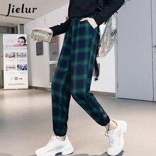 Jielur Plaid Pants Female Korean Style Harajuku Boyfriends Wide Leg Loose Vintage Green Joggers Women Elastic Waist