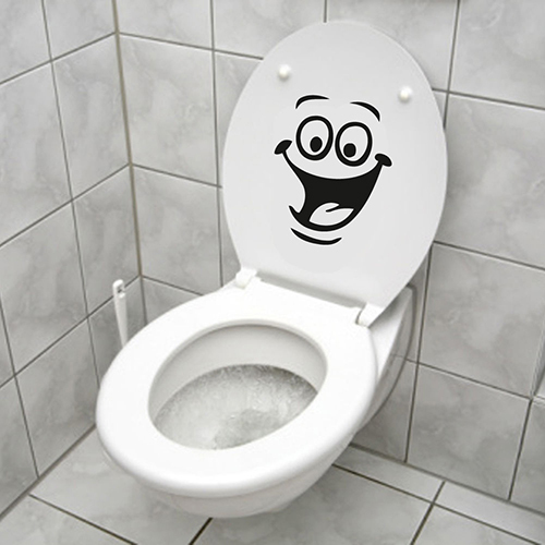 Smiley Face WC Toilet Decal Room Art Decor Funny Bathroom Kitchen Wall Sticker