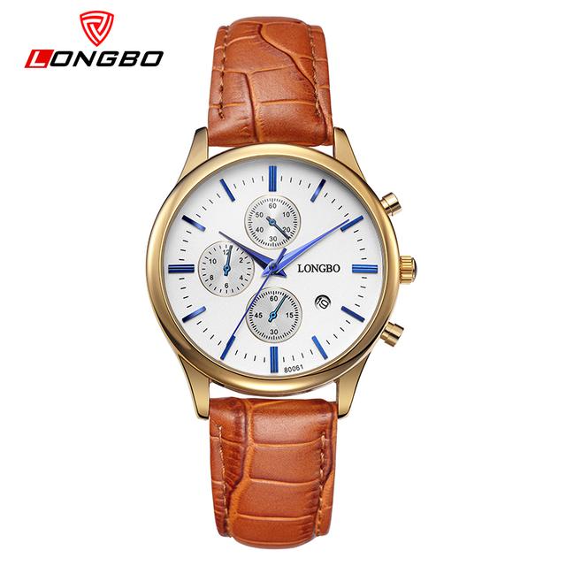 LONGBO frete Grátis Qualidade Superior Dos Homens Marca De Luxo Relógios de Natação Água Relógio Masculino Pulseira de Couro relógio de Quartzo Relógios De Pulso 80061