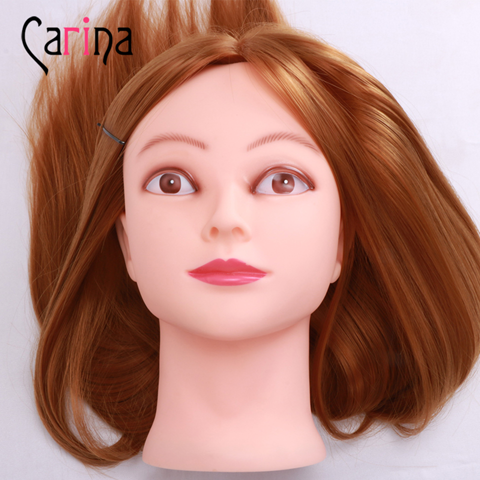 Hairstyle Doll 22 Inch Animal Hair Hairdressing Training Head Model Weaving Hair Model Professional Mannequin with Clamp