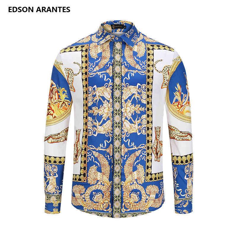 Camisa de hombre camisa barroca Retro hombres de lujo Palacio corona imprimir vestido camisa Unisex Casual Slim Fit fiesta, boda, banquete para camisa