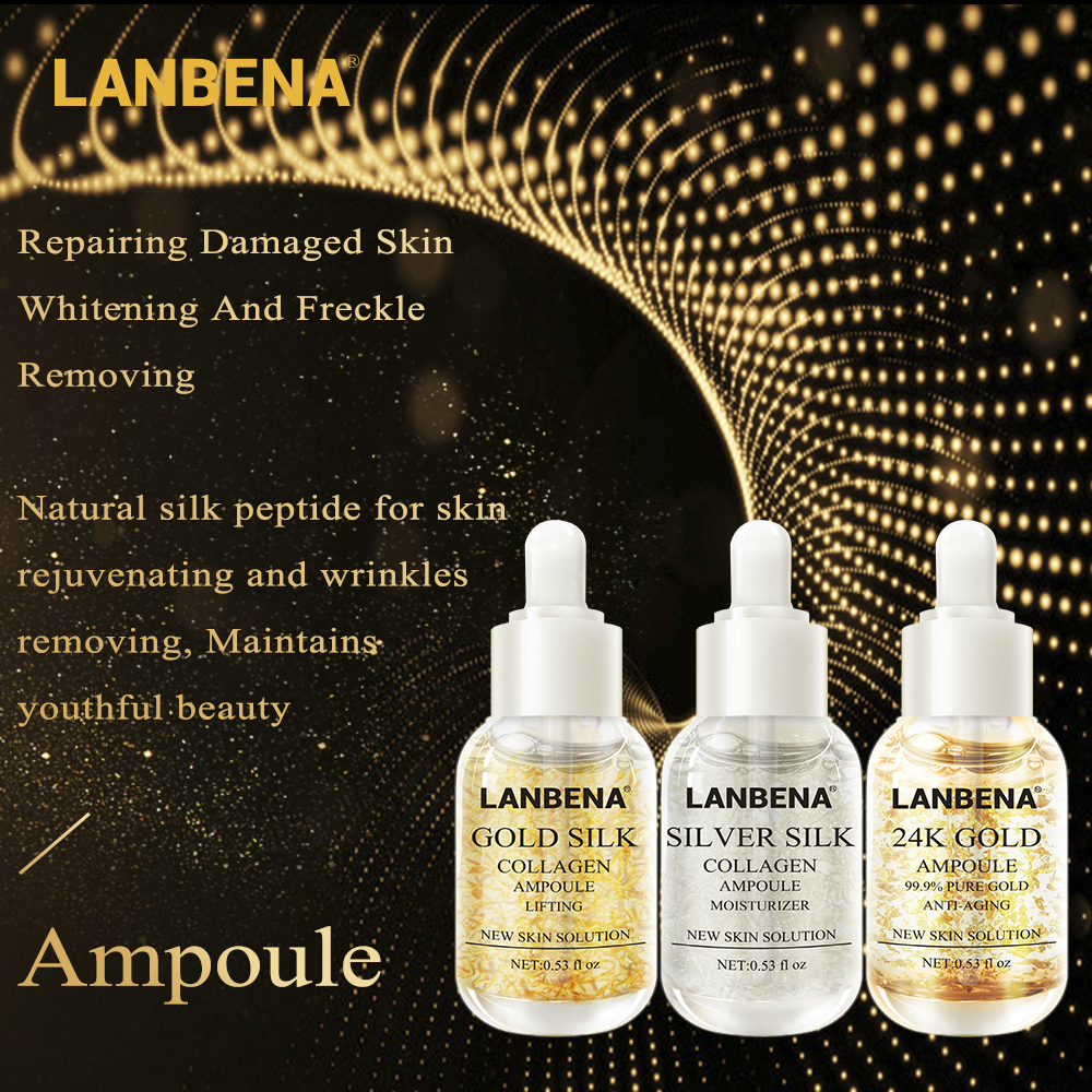 Aliexpresscom  Buy LANBENA 24K GoldSilver Silk Gold Silk Collagen Ampoule Serum Anti Aging Lighten Spots Moisturizing Whitening Firming Skin Care from Reliable Serum suppliers on LANBENA Official Store