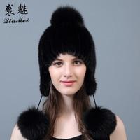 Women's Natural Fur Hat Mink Cap With Three Fox Fur Pompoms Beanie 2018 Brand New Cap Knitted Real Mink Fur Beanie Female Winter