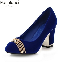 Karinluna Large Size 33 45 Fashion Slip On Women Shoes Woman Pumps high Heels Party Wedding Pumps Woman Shoes