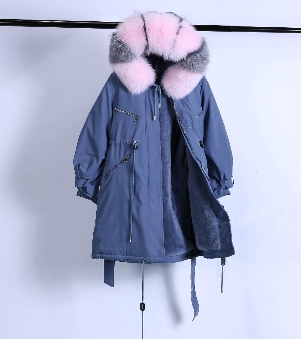 Large Natural Raccoon Fur Winter Jacket Women Hooded 19 Long Parkas For Female Thick Slim Down Winter Coat Women Waterproof 47