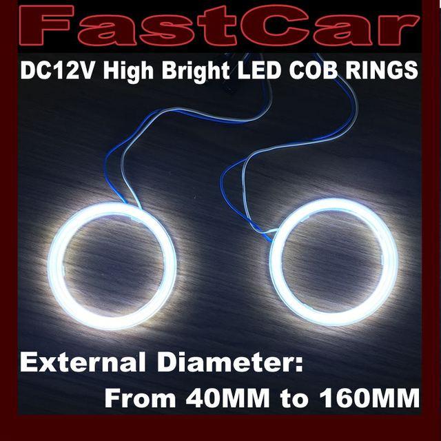 2x qualité supérieure 12 V 70mm 80mm 90mm 60mm 120 MM 110mm led Ange Yeux COB lampes annulaires Halo Halo avec 2 Abat-Jour livraison gratuite