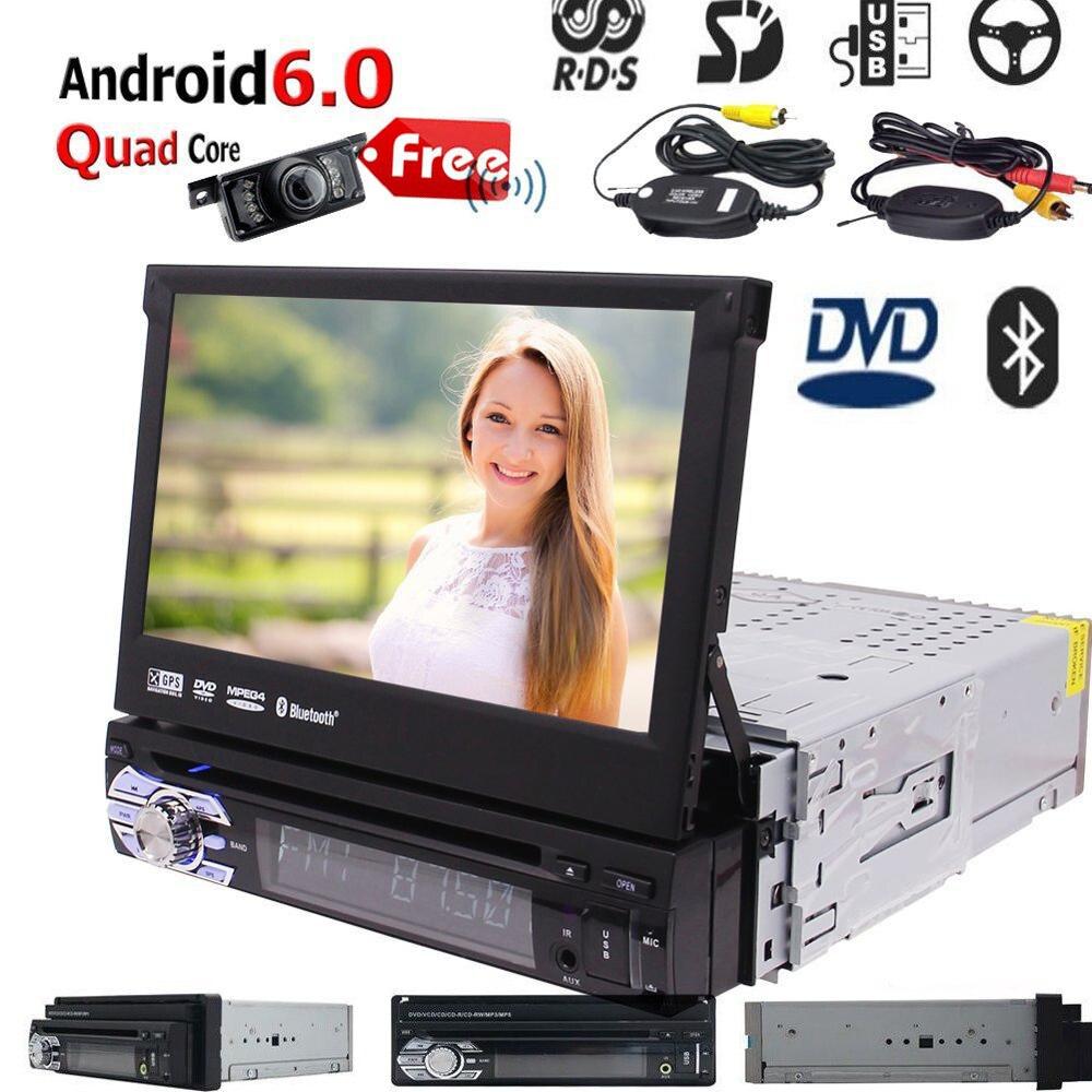 Android 6.0 Som Do Carro 1 Din GPS Autoradio de Navegação GPS do carro CD DVD Player Suporte WI-FI/BT/Radio RDS/SD/USB leitor OBD2/DAB + Câmera DVR