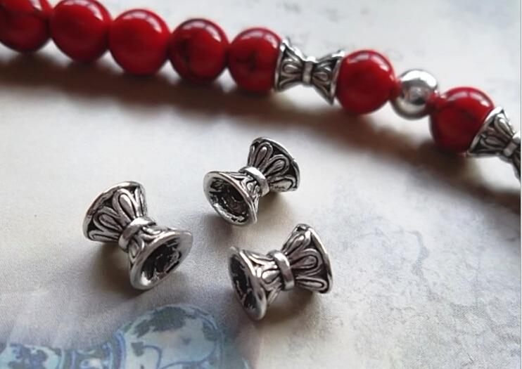 купить 50pcs/lot 5.5*6.5mm Retro silver imitation receptacle bead caps Alloy Jewelry Accessories for bracelet necklace по цене 195.83 рублей