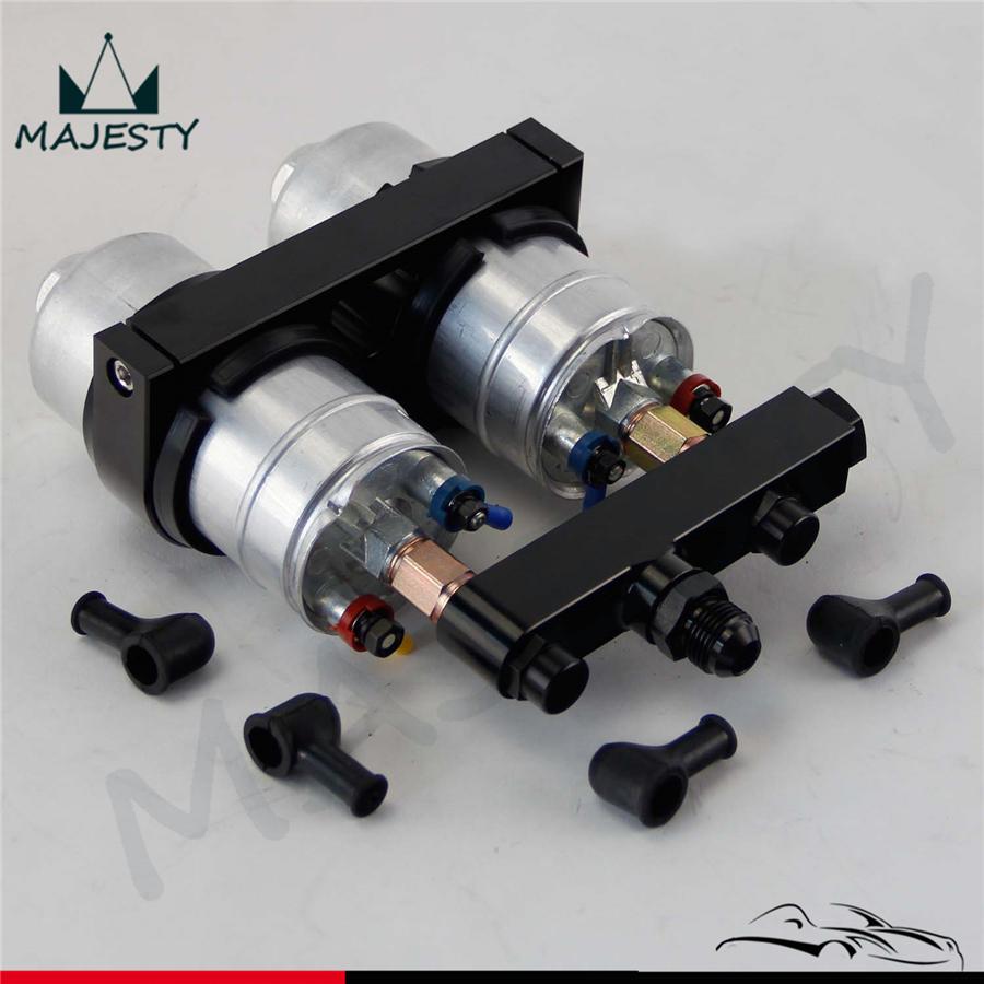 2x 044 High Flow External Fuel Pump + Dual Bracket & Out Manifold AN6 Black платья jn платье