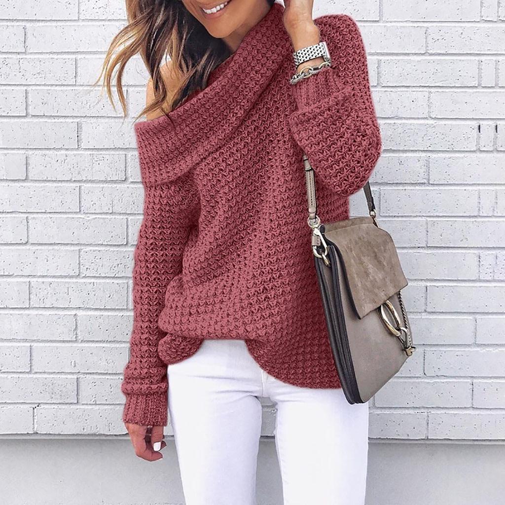 100% QualitäT Herbst Winter Frauen Schulter Pullover Stricken Pullover Langarm Bluse Einfarbig Casual Weibliche Pullover Frau Pullover SorgfäLtig AusgewäHlte Materialien