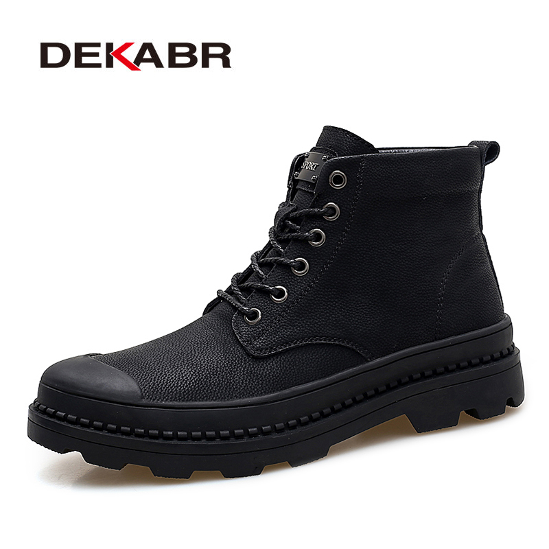 DEKABR Black Warm Winter Men Boots Genuine Leather Ankle Boots Men Winter Work Shoes Men Military Fur Snow Boots For Men Botas