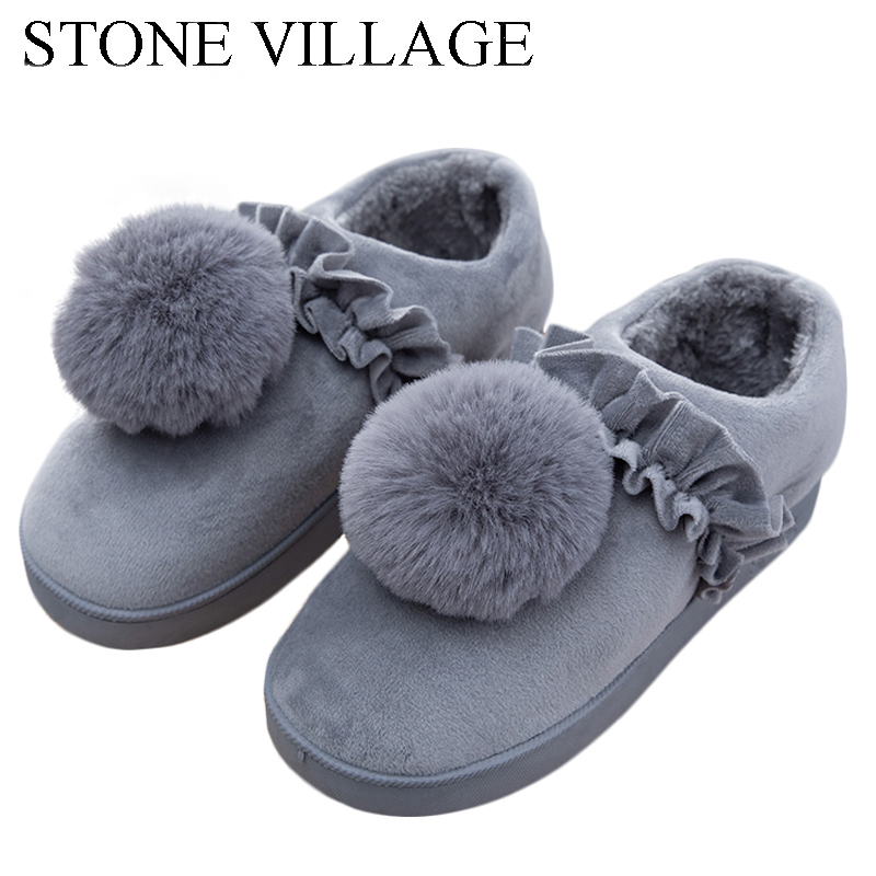 New Arrival High Quality Feather Ball Solid Flat Cotton Women Slippers shoes Winter Plush Warm Home Slippers Size 36-40 2017 new autumn winter women slippers genuine leather high quality rabbit hair fashion slippers flat home slider warm fluff 8 40