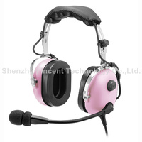 VOIONAIR Pink Pilot Headset PNR (Passive Noise Reduction) Aviation Headset IN 1000